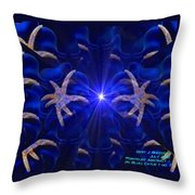 Pointelist Abstract In Blue Catus 1 No. 1 H A Throw Pillow