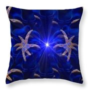 Pointelist Abstract In Blue Catus 1 No. 1 H B Throw Pillow