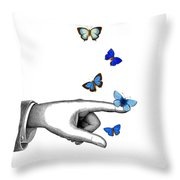Pointing Finger With Blue Butterflies Throw Pillow