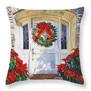 Pointsettia House Throw Pillow