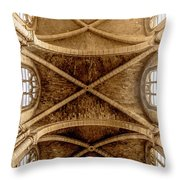 Poissy, France - Ceiling, Notre-dame De Poissy Throw Pillow