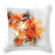 Pokemon Vulpix Abstract Portrait - By Diana Van Throw Pillow