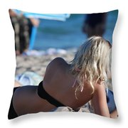 Poker At The Beach Throw Pillow