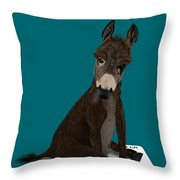 Poker Donkey Throw Pillow