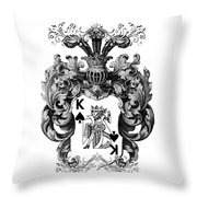 Poker King Spades Black And White Throw Pillow