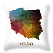 Poland Map Polska Map Throw Pillow