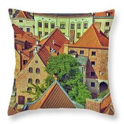 Poland, Torun, Houses. Throw Pillow