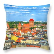 Poland, Torun, Urban Landscape. Throw Pillow