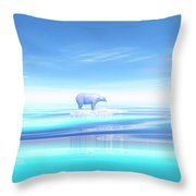 Polar Bear - 3d Render Throw Pillow