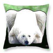 Polar Bear - Green Throw Pillow