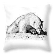 Polar Bear Protects Her Young Throw Pillow
