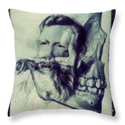 Polaroid Transfer Skull Anatomy Teeth Skeleton Beard Throw Pillow