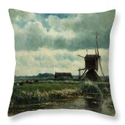 Polder Landscape With Windmill Near Aboude Throw Pillow