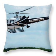 Police Helicopter Taking Off Throw Pillow