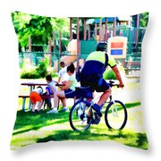 Police Officer Rides A Bicycle Throw Pillow