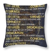 Police Officers Prayer Throw Pillow