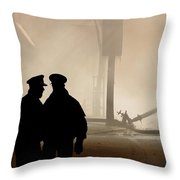 Police Watching Firefighters During Moose Jaw New Years Fire Throw Pillow