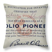 Polio Certificate, 1954 Throw Pillow