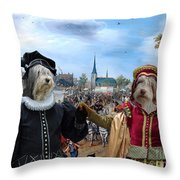 Polish Lowland Sheepdog Art Canvas Print - Prince And Princess Of Orange Throw Pillow
