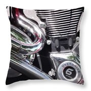Polished Motorcycle Chrome Throw Pillow