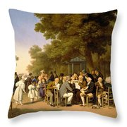 Politicians In The Tuileries Gardens Throw Pillow by Louis Leopold Boilly