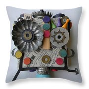 Polka Dot Girl Throw Pillow by Jen Hardwick