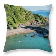 Polkerris Beach And Harbour Throw Pillow