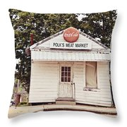 Polk's Meat Market Throw Pillow