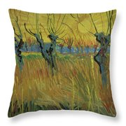 Pollarded Willows And Setting Sun Throw Pillow