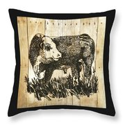 Polled Hereford Bull 11 Throw Pillow