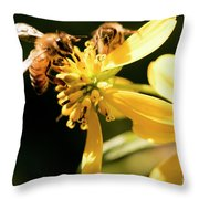 Pollinating Bees Throw Pillow