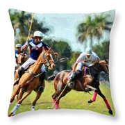 Polo Players And Ponies Throw Pillow