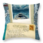 Poloroid Of Boat With Inspirational Quote Throw Pillow