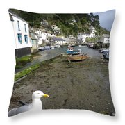 Polperro Harbour Cornwall And Seagull Throw Pillow