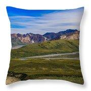 Polychrome Pass Area Denali National Park Four Throw Pillow