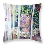 Polynesian Maori Warrior With Spears Throw Pillow
