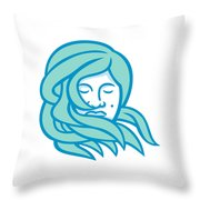 Polynesian Woman Flowing Hair Mascot Throw Pillow