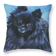 Pomeranian Black Throw Pillow by Lee Ann Shepard