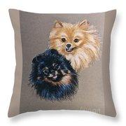 Pomeranian Pair Throw Pillow
