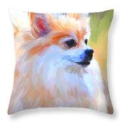Pomeranian Portrait Throw Pillow