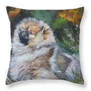 Pomeranian Puppy Autumn Leaves Throw Pillow