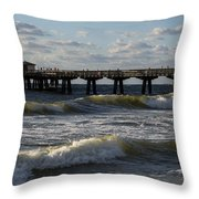 Pompano Beach Fishing Pier At Sunrise Florida Sunrise Waves Throw Pillow