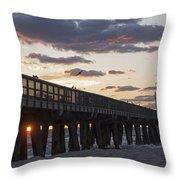 Pompano Beach Fishing Pier At Sunrise Florida Throw Pillow