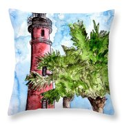 Ponce De Leon Inlet Florida Lighthouse Art Throw Pillow