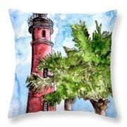 Ponce De Leon Inlet Florida Lighthouse Art Throw Pillow