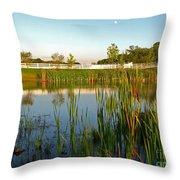Pond At Sunset Throw Pillow