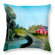 Pond By The Red Barn Dreamy Mirage Throw Pillow