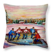 Pond Hockey Warm Day Throw Pillow