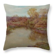 Pond In Early Autumn Throw Pillow