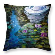 Pond In Monet Garden Throw Pillow